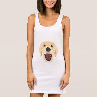 Illustration dogs face Golden Retriver Sleeveless Dress