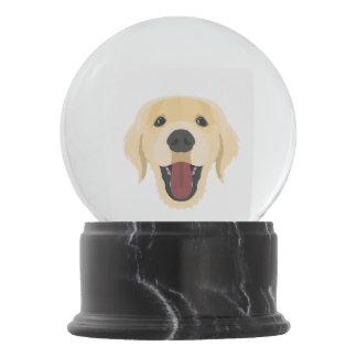 Illustration dogs face Golden Retriver Snow Globe