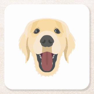 Illustration dogs face Golden Retriver Square Paper Coaster
