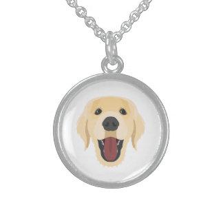 Illustration dogs face Golden Retriver Sterling Silver Necklace