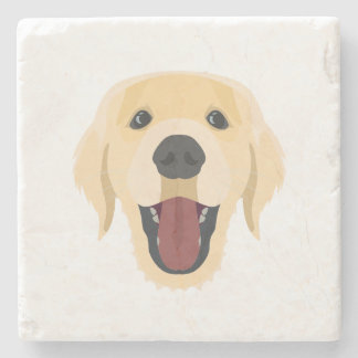 Illustration dogs face Golden Retriver Stone Coaster
