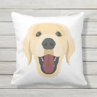 Illustration dogs face Golden Retriver Throw Pillow