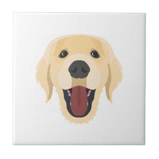 Illustration dogs face Golden Retriver Tile