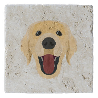 Illustration dogs face Golden Retriver Trivet