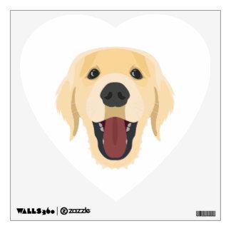 Illustration dogs face Golden Retriver Wall Sticker