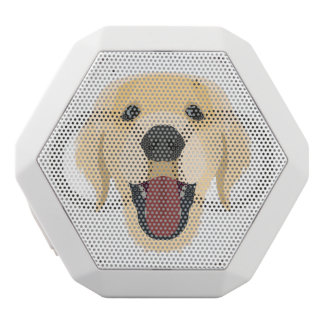 Illustration dogs face Golden Retriver White Bluetooth Speaker