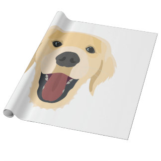 Illustration dogs face Golden Retriver Wrapping Paper