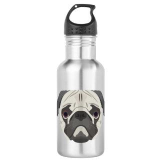 Illustration dogs face Pug 532 Ml Water Bottle