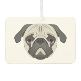 Illustration dogs face Pug Air Freshener