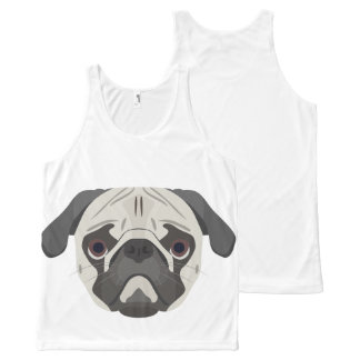 Illustration dogs face Pug All-Over-Print Tank Top