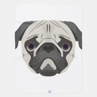 Illustration dogs face Pug Baby Blanket