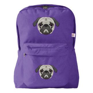 Illustration dogs face Pug Backpack