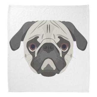 Illustration dogs face Pug Bandana