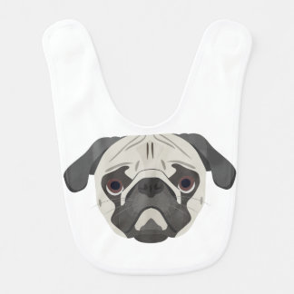 Illustration dogs face Pug Bib