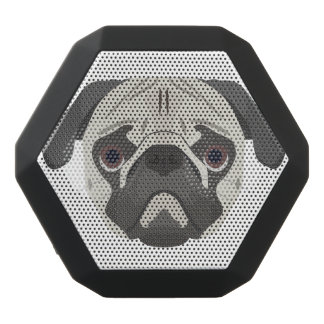Illustration dogs face Pug Black Bluetooth Speaker
