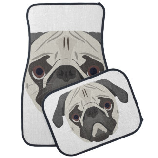 Illustration dogs face Pug Car Mat