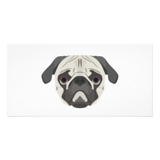 Illustration dogs face Pug Card
