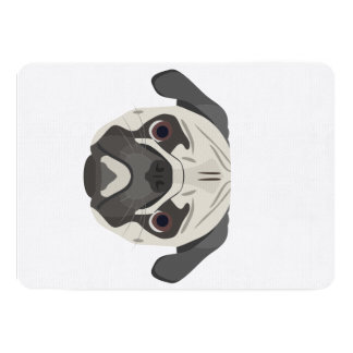 Illustration dogs face Pug Card