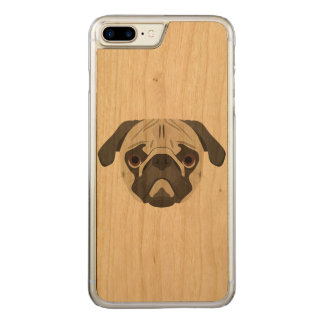 Illustration dogs face Pug Carved iPhone 8 Plus/7 Plus Case