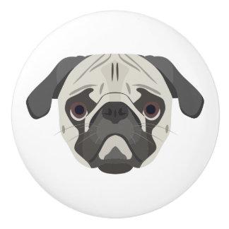 Illustration dogs face Pug Ceramic Knob
