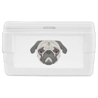 Illustration dogs face Pug Chest Cooler