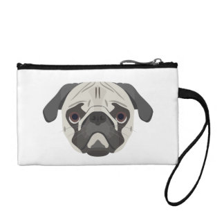Illustration dogs face Pug Coin Purse