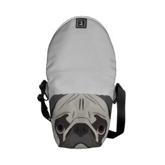 Illustration dogs face Pug Courier Bags