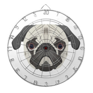 Illustration dogs face Pug Dartboard