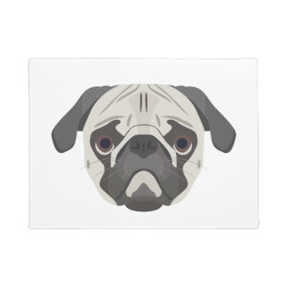 Illustration dogs face Pug Doormat
