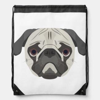 Illustration dogs face Pug Drawstring Bag