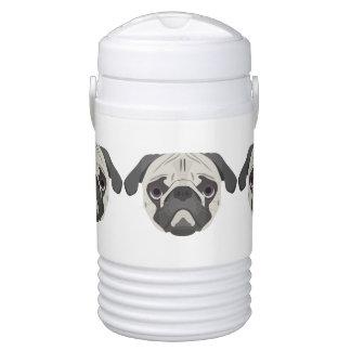 Illustration dogs face Pug Drinks Cooler