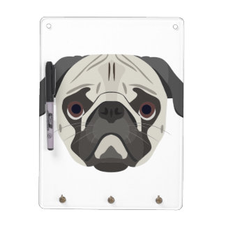 Illustration dogs face Pug Dry Erase Board