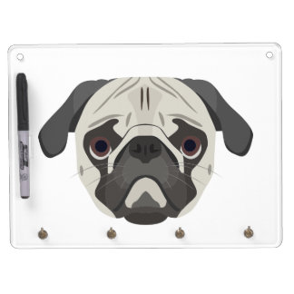 Illustration dogs face Pug Dry Erase Board With Keychain Holder