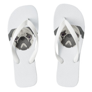 Illustration dogs face Pug Flip Flops