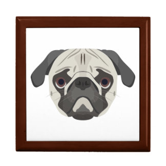Illustration dogs face Pug Gift Box