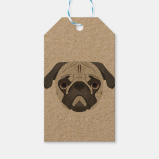 Illustration dogs face Pug Gift Tags