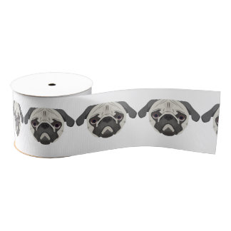 Illustration dogs face Pug Grosgrain Ribbon