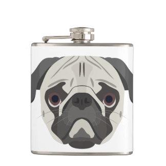 Illustration dogs face Pug Hip Flask