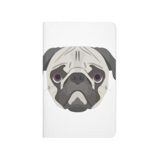 Illustration dogs face Pug Journal