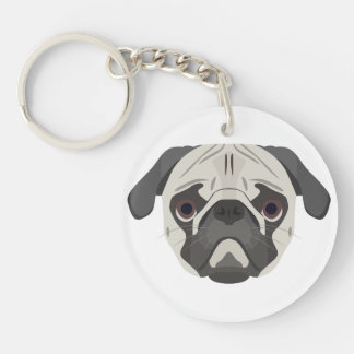 Illustration dogs face Pug Keychain