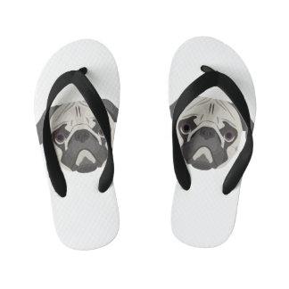 Illustration dogs face Pug Kid's Flip Flops