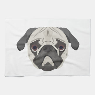 Illustration dogs face Pug Kitchen Towel