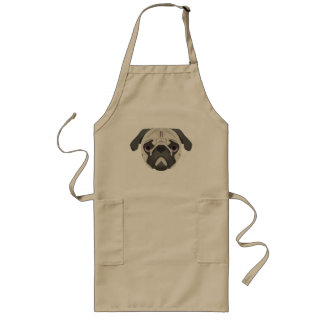 Illustration dogs face Pug Long Apron