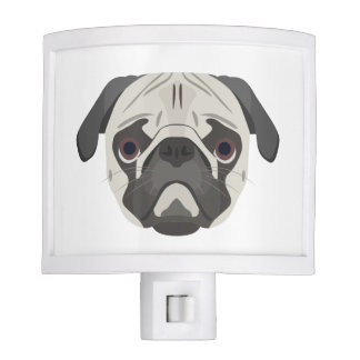 Illustration dogs face Pug Night Light