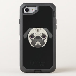 Illustration dogs face Pug OtterBox Defender iPhone 8/7 Case