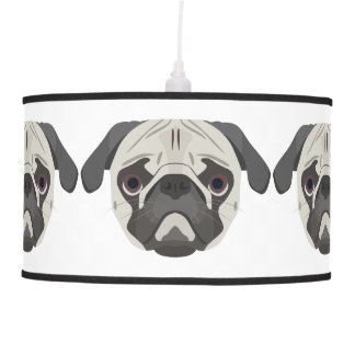 Illustration dogs face Pug Pendant Lamp