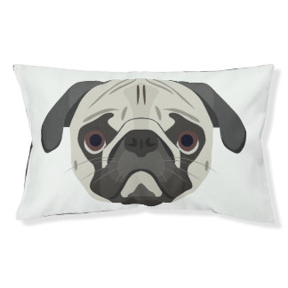 Illustration dogs face Pug Pet Bed