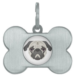 Illustration dogs face Pug Pet Tag