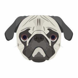 Illustration dogs face Pug Photo Sculpture Keychain
