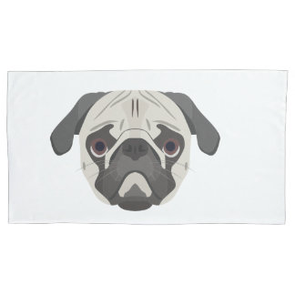 Illustration dogs face Pug Pillowcase